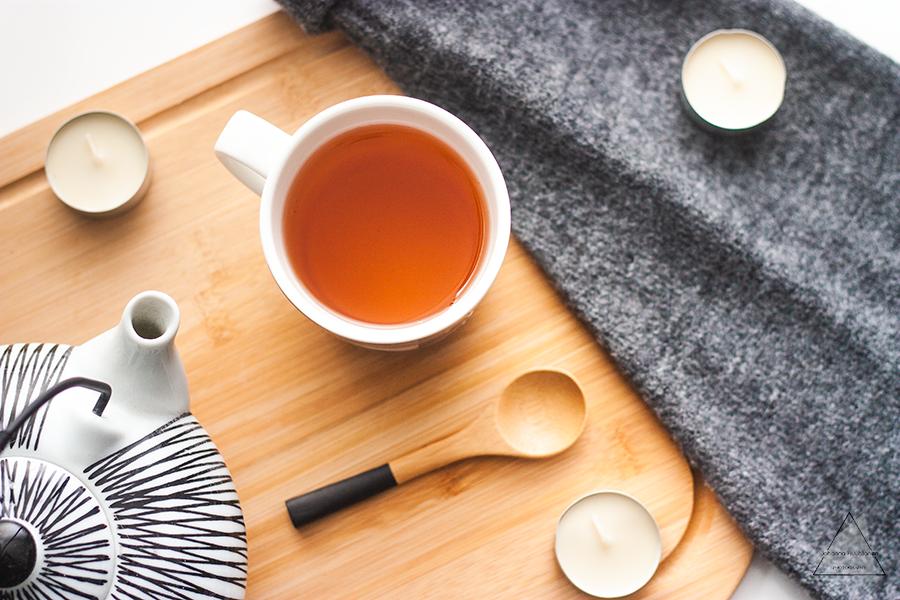 Flat lay tea cup