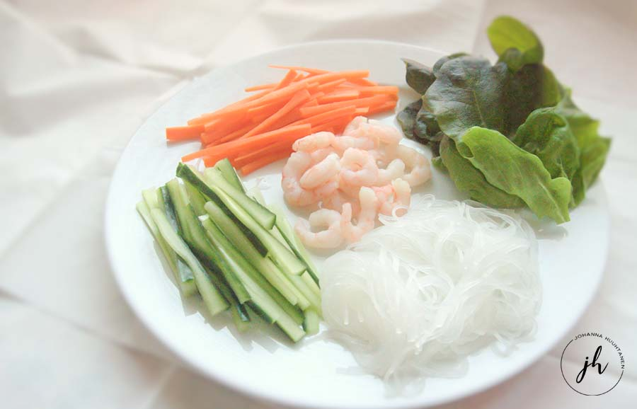 Riisipaperirullat ainekset