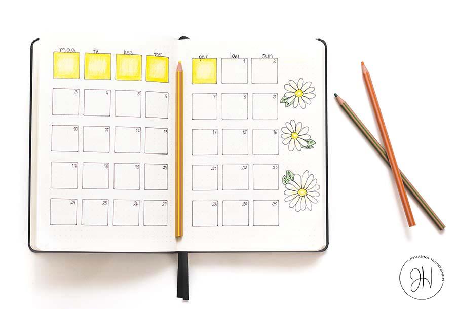 Bullet journal - kesäkuu 2019 kuukausinäkymä